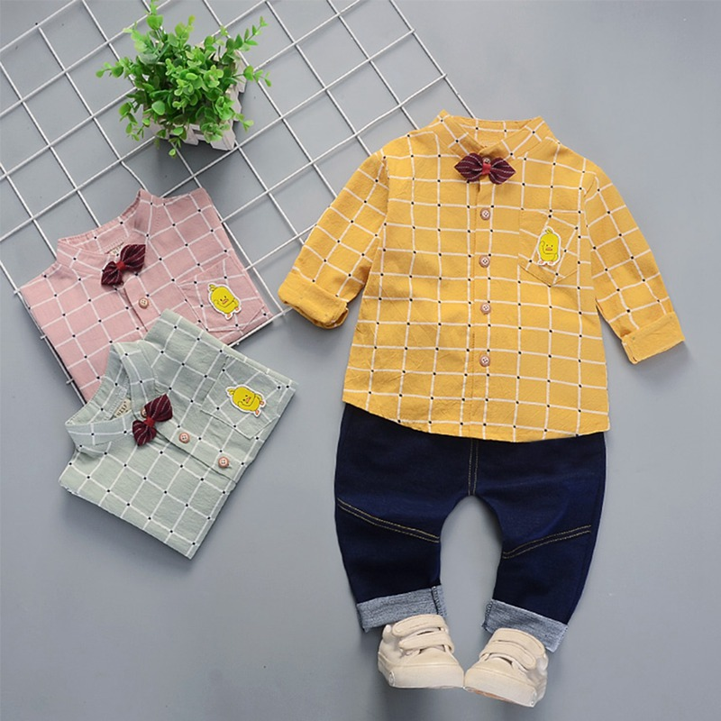 2Pcs Baby Boy Clothes Cotton Fashion Plaid Print Long Sleeve Shirt Blouse Denim Trousers Casual Outfits Clothes in Clothing Sets from Mother Kids