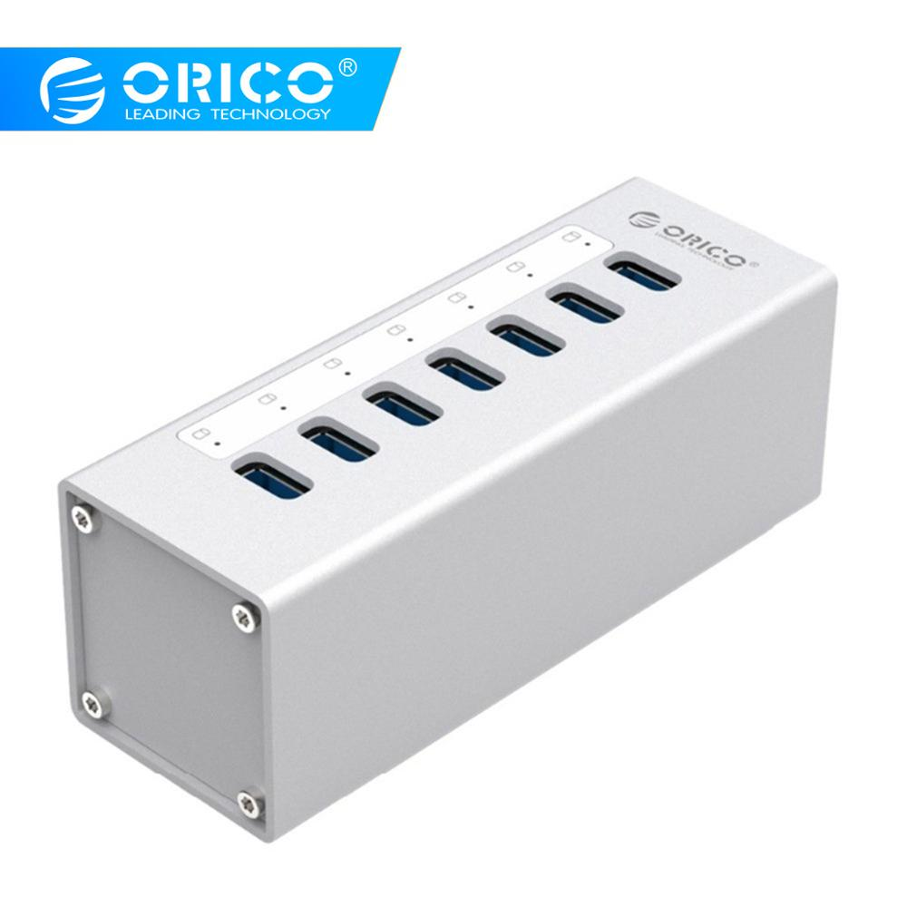 ORICO High Speed Aluminum 7 ports USB 3.0 HUB USB Port 5Gbps with 12V Power Adapter and 1M USB3.0 Date Cable-(A3H7)