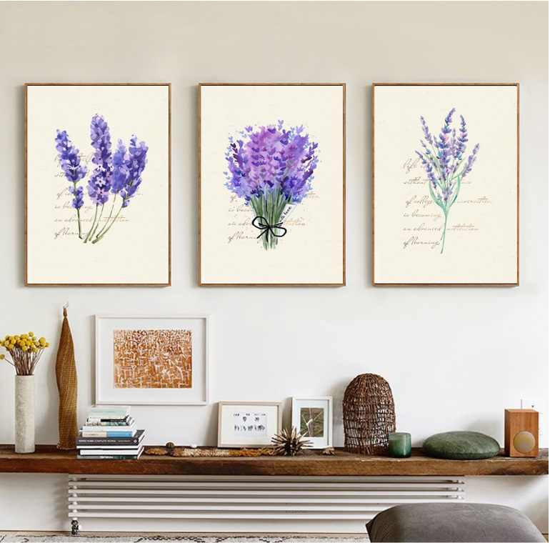 Nordic Lavender English Combina Decorative Painting Modular Picture Wall Art Canvas Painting for Living Room No Framed