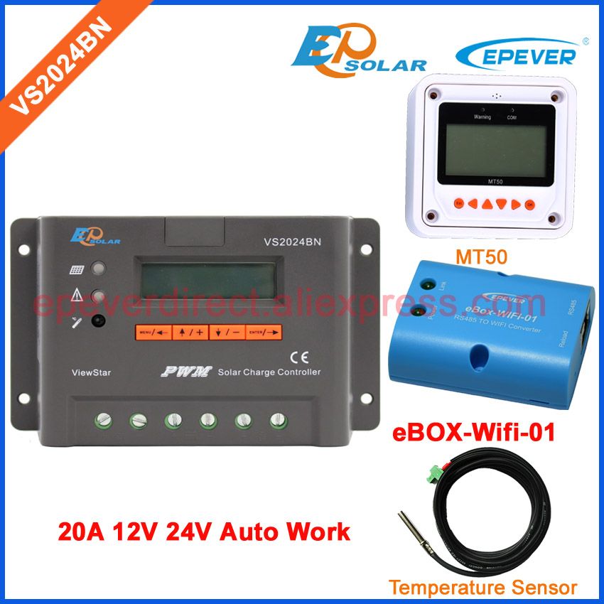 regulator with MT50 remote meter real-time monitor VS2024BN with wifi BOX EPEVER Solar portable controller 20A Temp sensor 20a 12 24v solar regulator with remote meter for duo battery charging