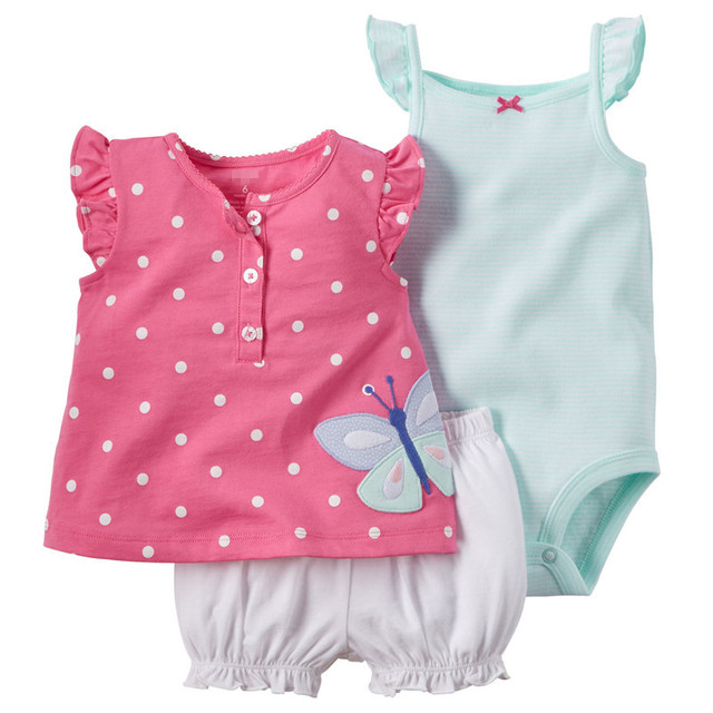 2016 Summer Baby Set 3pcs Baby Girls Bodysuits+Short+T-shirt Retail Baby Clothing Set Undershirt Shorts  Kids Clothes Sets V20