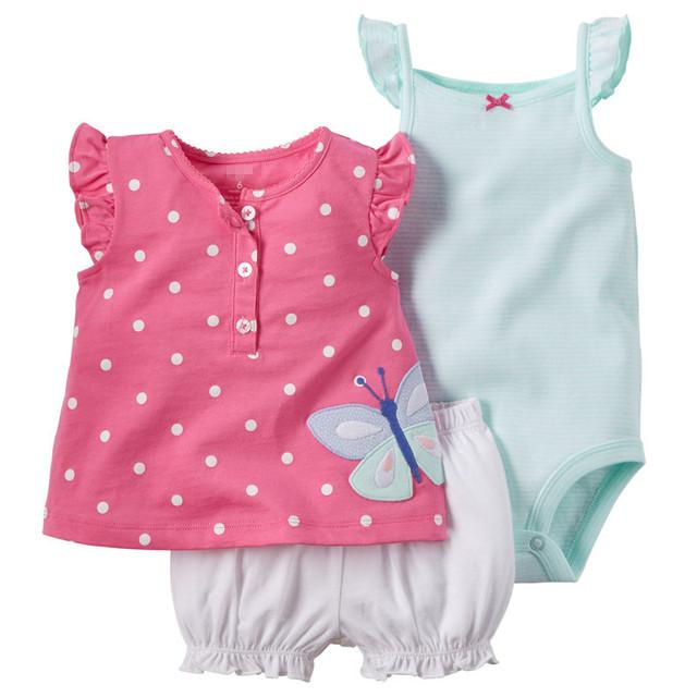Set 2016 Bebê Verão 3 pcs Bebê Meninas Bodysuits + Curta + T-camisa de Varejo Conjunto de Roupas de Bebê Camisola Shorts Roupa Dos Miúdos Conjuntos V20