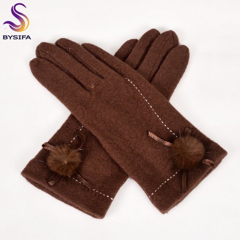 [BYSIFA] Ladies Coffee Cashmere Wool Gloves Female Winter Warm Gloves Brand Elegant Mink Ball Soft Elasticity Mittens Gloves