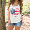 Summer 2017 White TShirt Women Graphic Tees O Neck punk camisetas mujer sexy tank tops american flag women blusas top