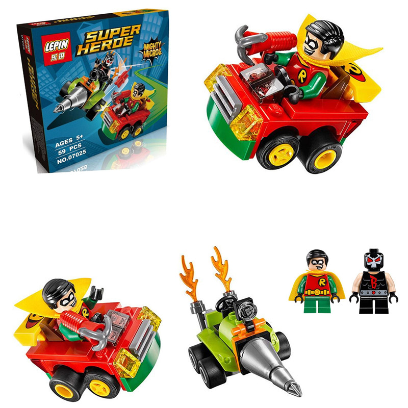 Lepin 07025 dc hero poderoso micros serie pesadilla/robin lucha juguetes de bloq