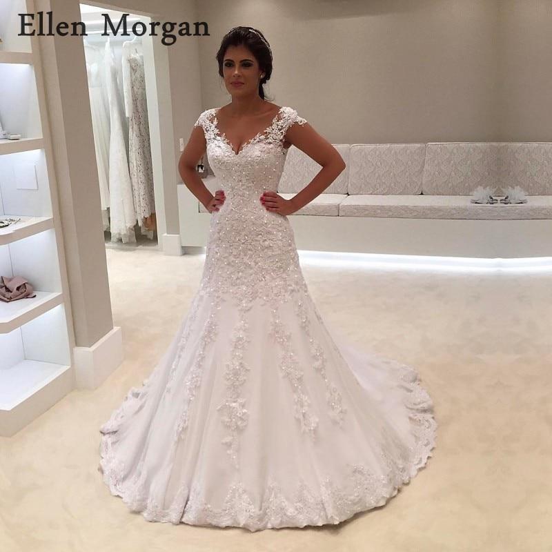 Ivory V Neck Mermaid Wedding Dresses 2019 Summer Beach Garden Sexy  Appliques Lace Beaded Zipper Merry dbb0832683d9