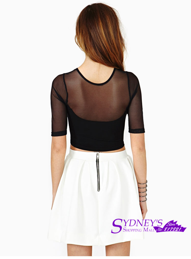 6c4e4495b17fa6 Women s Sexy Crop Top Mesh And Lycra Out Off Shoulder Cut Off Black T Shirt-in  T-Shirts from Women s Clothing on Aliexpress.com