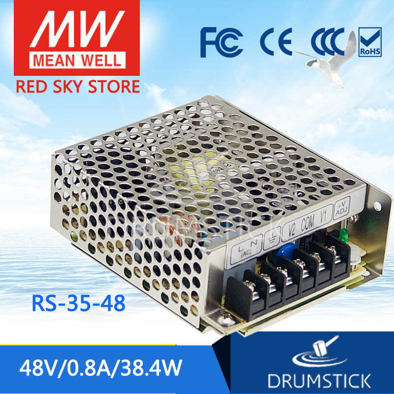 Selling Hot MEAN WELL RS-35-48 48V 0.8A meanwell RS-35 48V 38.4W Single Output Switching Power Supply meanwell rs 25 48 single output power