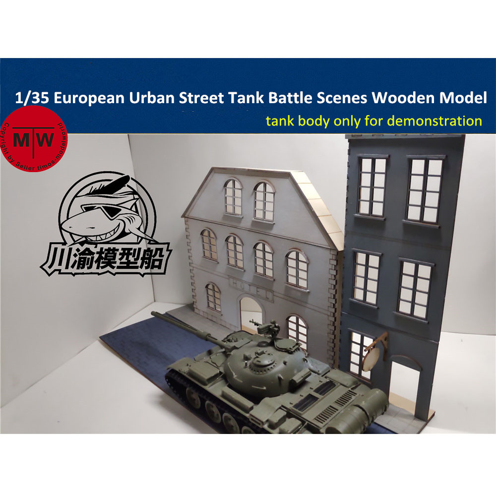 US $16 99 |1/35 Scale European Style Urban Street Tank Scenes Diorama DIY  Wooden Assembly Model Kit TMW00009-in Model Building Kits from Toys &