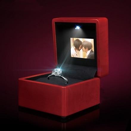 Video Display Screen Music Ring Box LED Ring box wedding pendant necklace box ring box Video play стоимость