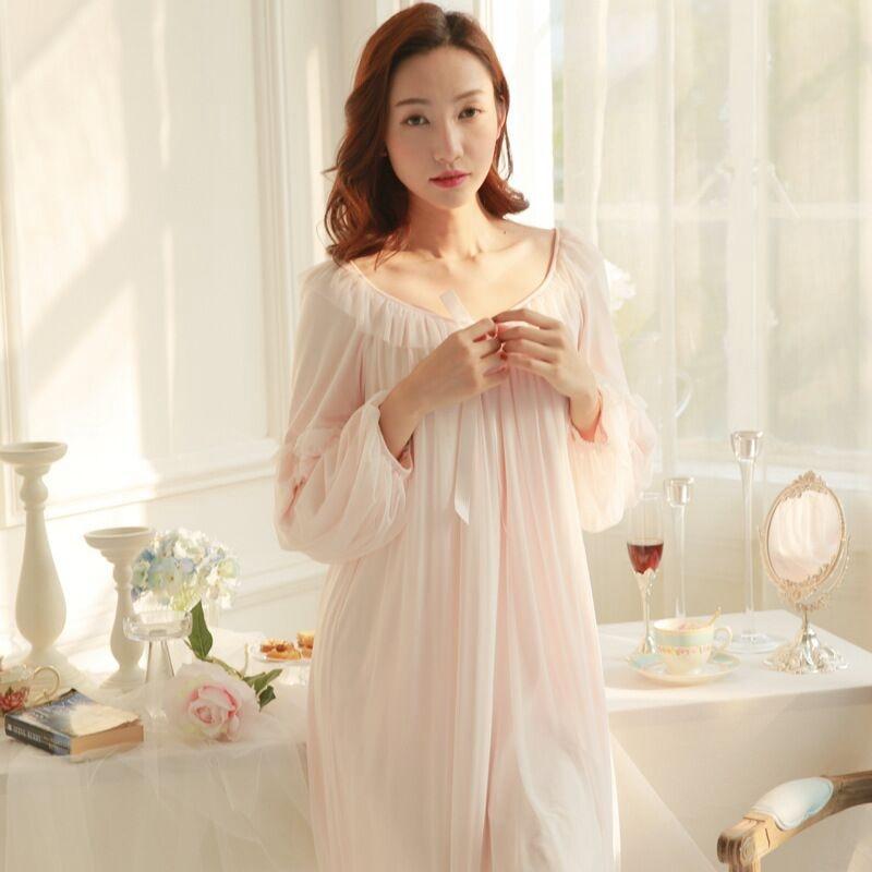 2017 New Women White Pink Home Dress Sleepshirts Female