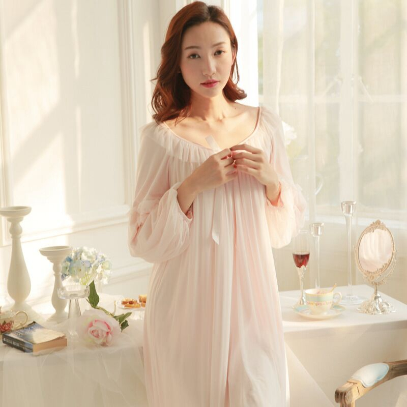 2018 New Women White Pink Home Dress Sleepshirts Female Nightdress Cotton Long sleeve Nightgown Princess Sleep Lounge