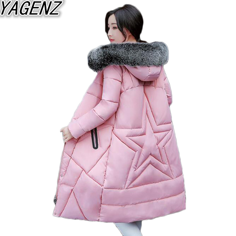 2017 Winter New Women Clothing Cotton Coat Women's Big fur collar Hooded Cotton Jacket Female Casual Cotton Overcoat Student 506 women winter coat leisure big yards hooded fur collar jacket thick warm cotton parkas new style female students overcoat ok238