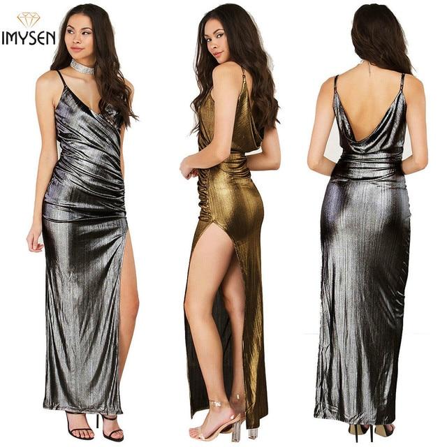 Metal Color Elegant Summer Dress 2017 Sexy Maxi Dress Women Solid Gold  Silver Draped Spaghetti Strap Club Wear Clothes Female 7b924d102d64