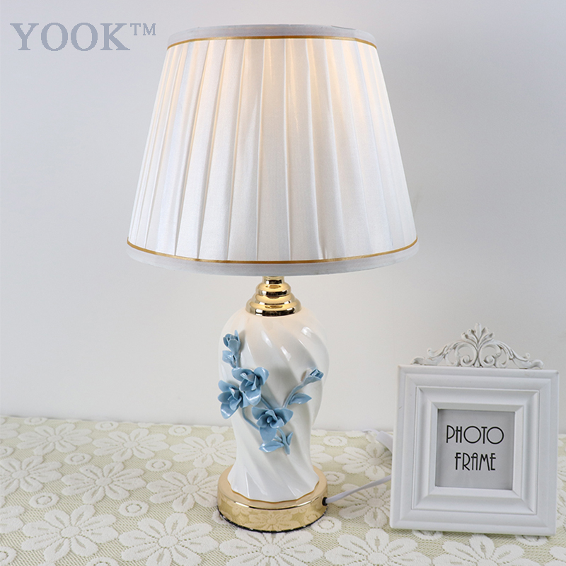 2018 YOOK White Ceramic Table Lamps For Bedroom Living Room Engraved Flower Carving Ceramic Table Lamp Folding Fabric Lampshade