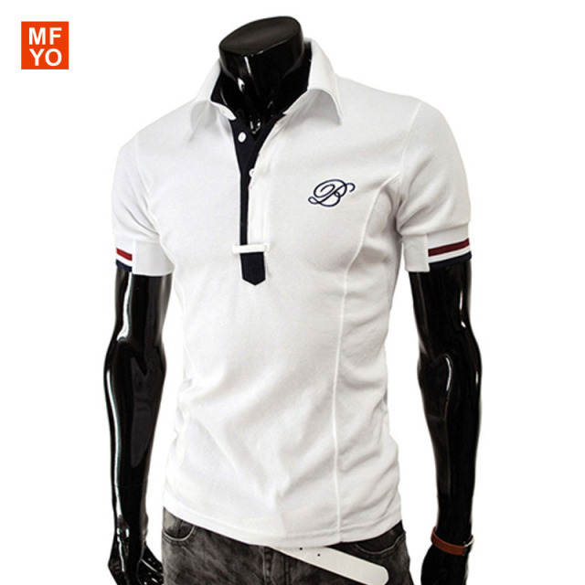 Men Polo Shirt Summer Short Sleeve Solid Polo Homme Embroidered Letter B Fitness Polo Shirt Brand Clothing Fashion Tops&Tees