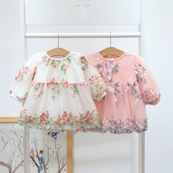Spring Baby Girls Clothing Lace Embroidery Floral Lovely Princess Dress Newborn Infant Baby Dresses Vestido DQ919