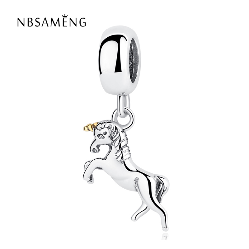Original Authentic 925 Sterling Silver Unicorn Dangle Charm Horse Pendants Animal Beads Fit Pandora Bracelets & Bangles Jewelry