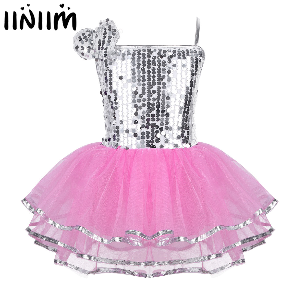 iiniim Kids Girls Jazz Lyrical Dancewear Costumes Spaghetti Straps Sparkly Sequins Dress Up with Hairclip Dance Performance