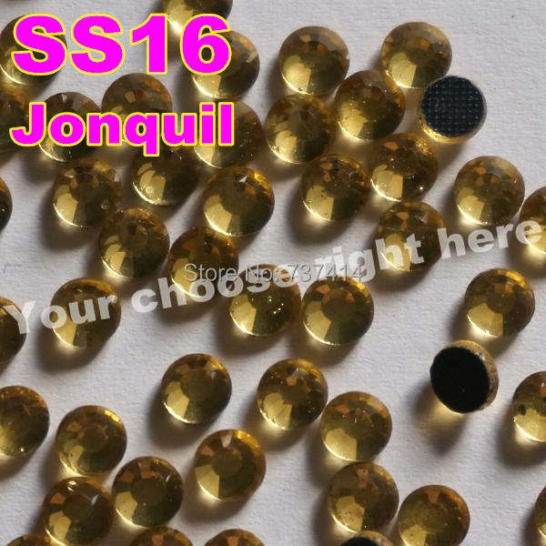 SS16 3.8-4.0mm, 1440pcs / 가방 Jonguil DMC 핫픽스 FlatBack 모조 다이아몬드, 늦게 Lt.Yellow 철에 의류 핫픽스 수정 돌 보석