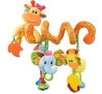 Venta caliente de color elefante jirafa Discovery actividad espiral Hare felpa juguete del bebé cama de campana redonda 1 unid