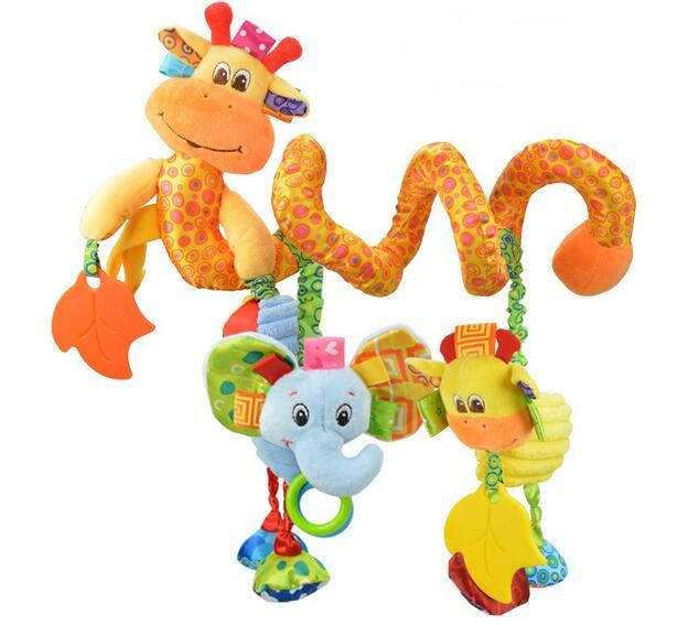 hot sale colored elephant giraffe discovery activity spiral hare baby toy plush bed round bell 1pc