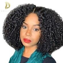 dollface lace front human hair wigs for black women Afo kinky curly brazilian virgin 250 density wig pre plucked цена