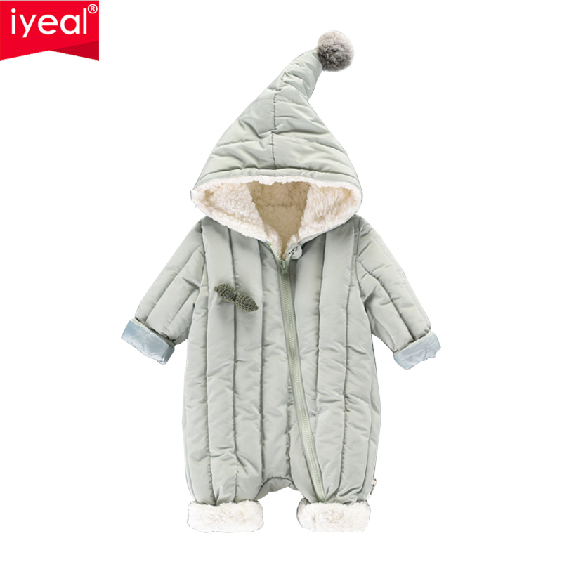 IYEAL Baby Rompers Winter Jackets for Infant Girls Clothing Toddler Outwear Cute Hooded Overalls For Baby Boys Newborn Clothes 2018 new baby girl boy toddler winter rompers clothes infant hooded duck down sets jackets coats overalls 2 5y baby outwear