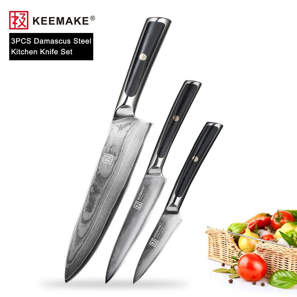 KEEMAKE 3 PCS Küche Messer Set Chef Utility Schäl Messer Japanischen VG10 Damaskus Stahl Razor Sharp Kochen Messer G10 Griff-in Messer-Sets aus Heim und Garten bei  Gruppe 1