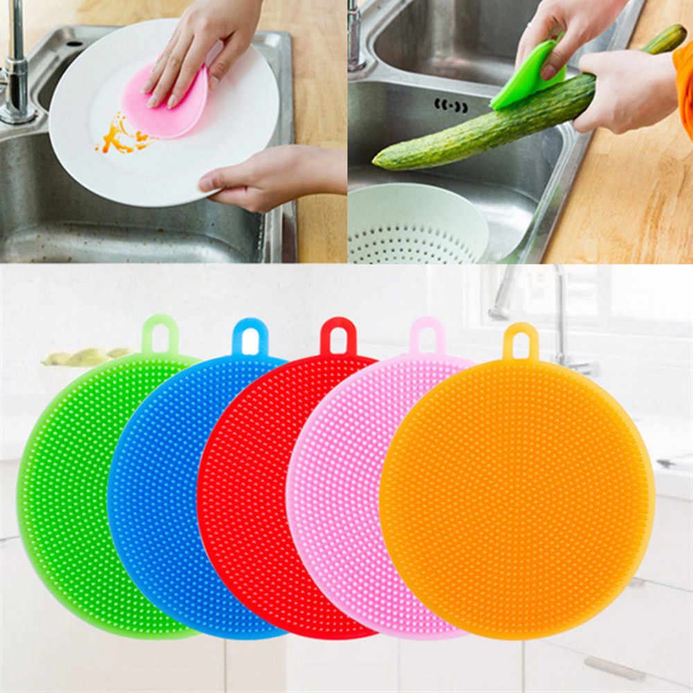 3Pcs Silicone cleaning brush Dish Washing Sponge Scrubber Kitchen Cleaning antibacterial Tool useful dust cleaner pinceau cuisi