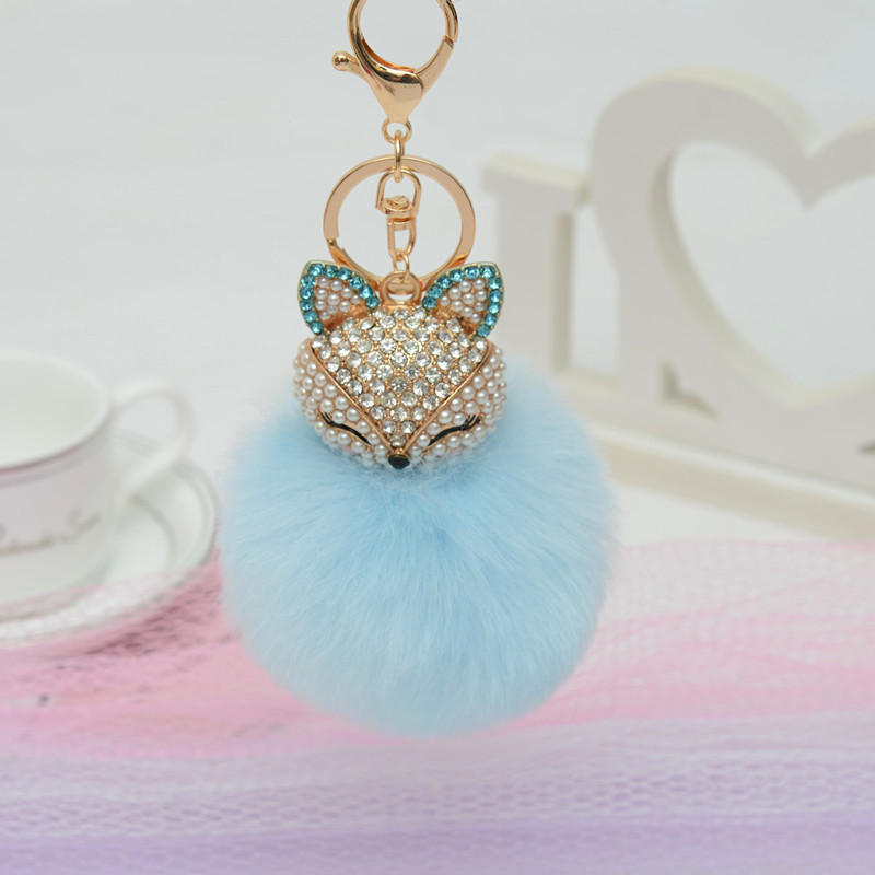 Charms Crystal Faux  Fox Plush Toy Animal Keychain Heart-shaped Unicorn Fox Key Pendant Suffed Animal Toy Licorne 10