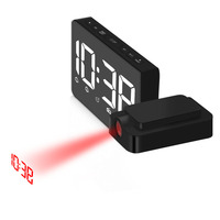 Modern digital LED projection alarm clock with rotate function Desktop electric led glowing radio clock Snooze alarm clock