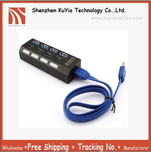 Free Shipping And Track Number 2pcs New 4 Ports USB 3.0 HUB With On/Off Switch For Desktop Laptop EU AC Power Adapter