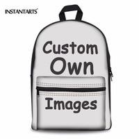 INSTANTARTS Custom Your Logo/Image/Photo Print Middle School Boys Grils Backpacks Diy Your Own Design Schoolbags Large Rucksacks