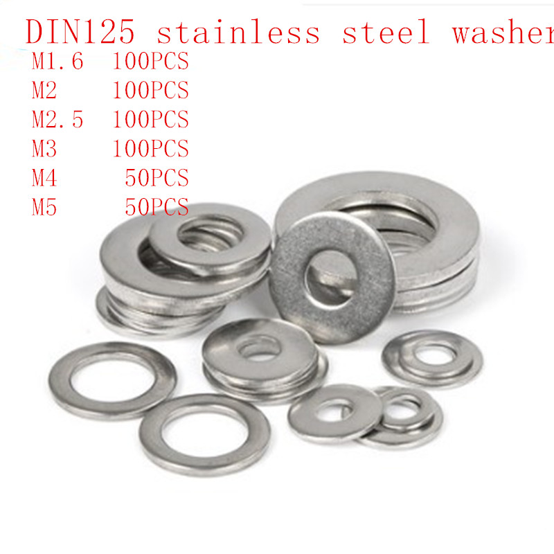 купить 500pcs/lot DIN125 ISO7089 M1.6 M2 M2.5 M3 M4 M5 304 Stainless Steel Flat Machine Washer Plain Washer Gaskets Assortment Kit недорого