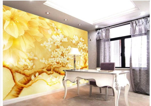 customized wallpaper for walls Golden yellow magnolia flower color ...