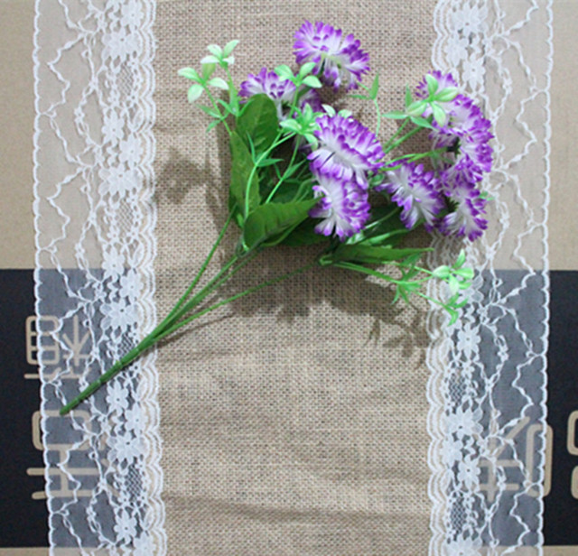 5PCS/lot, 35X275cm Natural Linen Burlap Table Runner Wedding Ivory Lace  Doily Home Party