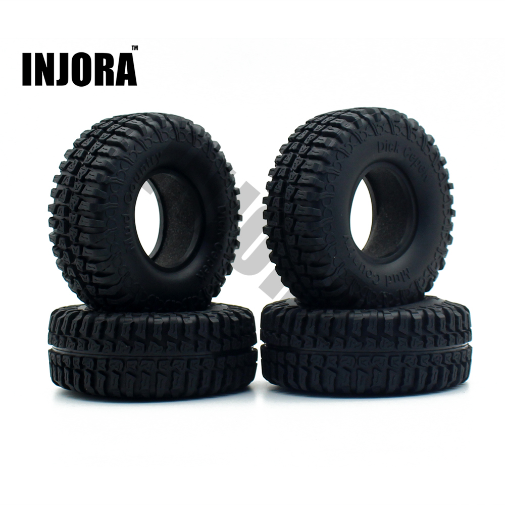 4PCS 100MM 1.9 Rubber Tyre / Wheel Tires for 1:10 RC Rock Crawler Axial SCX10 90046 90047 Tamiya CC01 D90 D110 TF2 4pcs 1 9 rubber tires