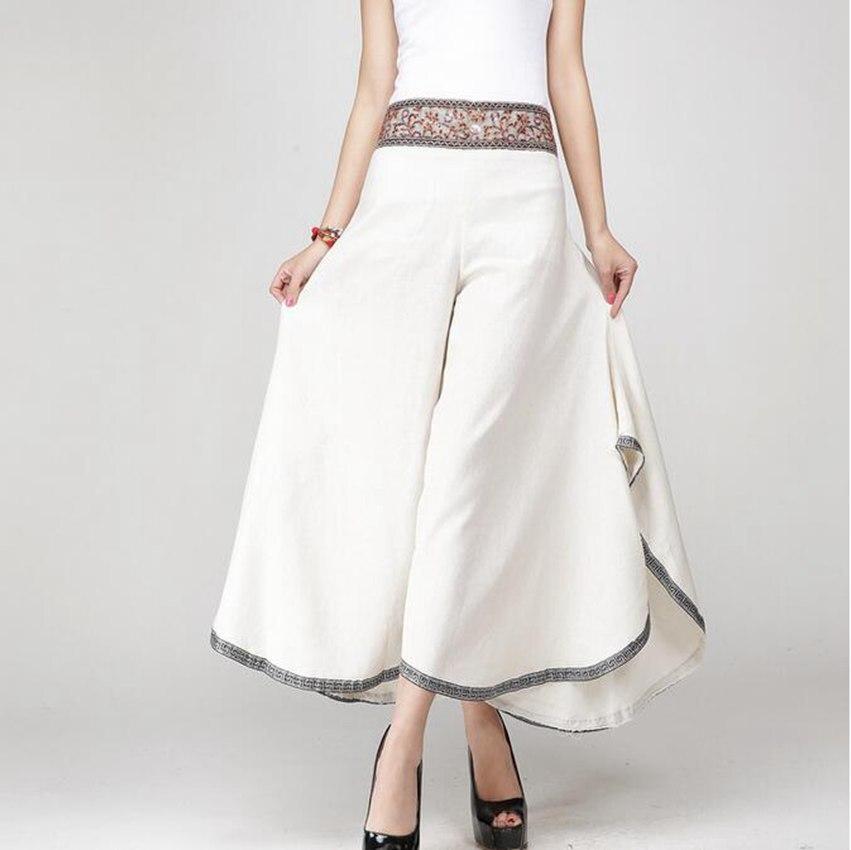 #5402 Summer Cotton Linen   Pants   Women Fashion Ankle-length   Wide     Leg     Pants   Casual Chinese Style Vintage Thin Elastic Waist