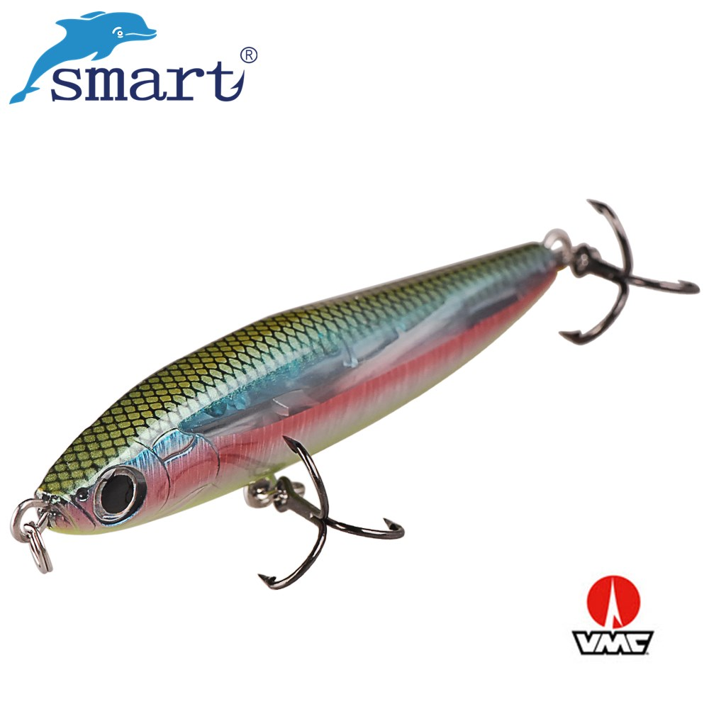 Smart Pencil Fishing Lure 80mm 21.3g Sinking Wobbler Artificial Hard Bait with VMC Hook Lifelike Jerkbait Lures for Bass Pike allblue slugger 65sp professional 3d shad fishing lure 65mm 6 5g suspend wobbler minnow 0 5 1 2m bass pike bait fishing tackle