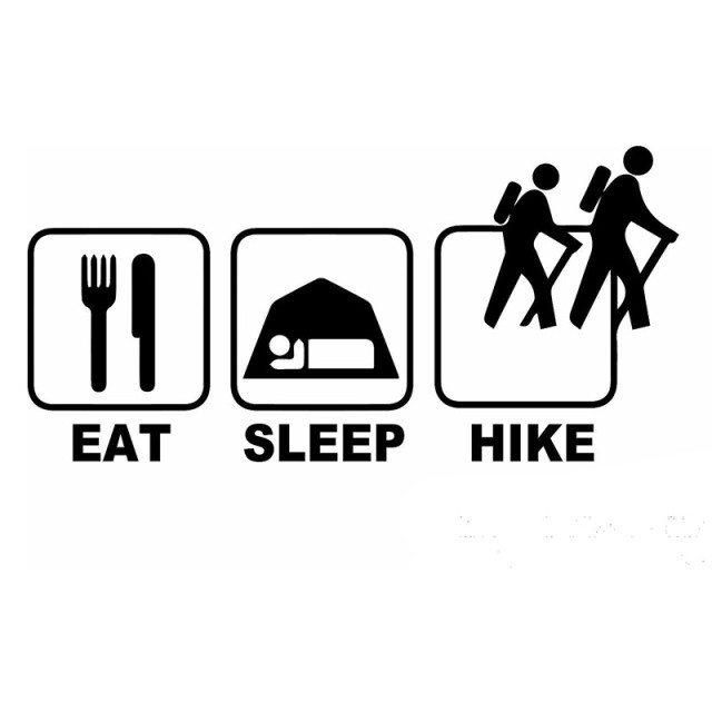Funny 229cm eat sleep hike car sticker vinyl car laptop window wall decals funny