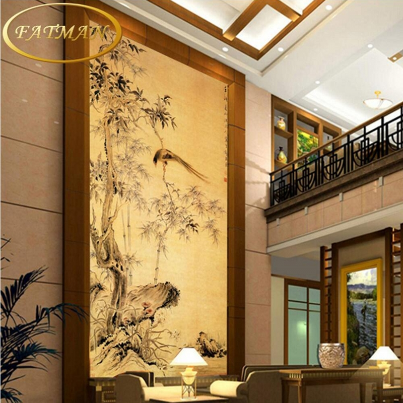 Custom 3D Photo Wallpaper Classical Chinese Paintings Bamboo Magpie Ancient Corridor Lobby Studio Wallpaper Papel De Parede