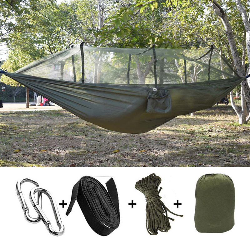 Portable Indoor Outdoor Hammock for Backpacking Camping Hanging Bed With Mosquito Net Sleeping Hammock Parachute swings Hammock