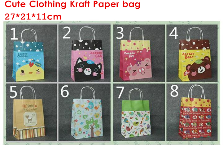 Free Shipping fahion Cute design packing kraft clothing paper bag