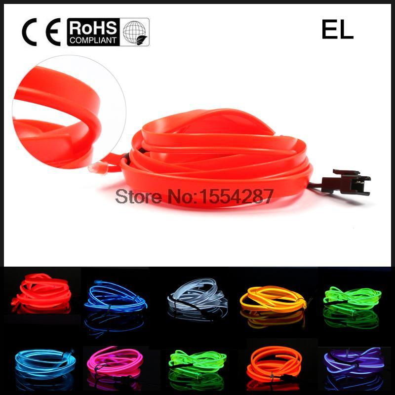 3M interior refit light clamping-edge EL Wire Flexible Neon Car Decorate With Cigarette lighter Drive 3V Party Decor 3m neon el wire glowing string light