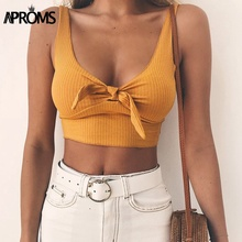 Aproms Ribbed Bow Tie Camisole Tank Tops Women Summer Basic Crop Top Streetwear Fashion 2019 Cool Girls Cropped Tees Camis aproms elegant ruched ruffle women tank tops sexy bow tie up female camis casual cropped summer stretch white crop top 2019