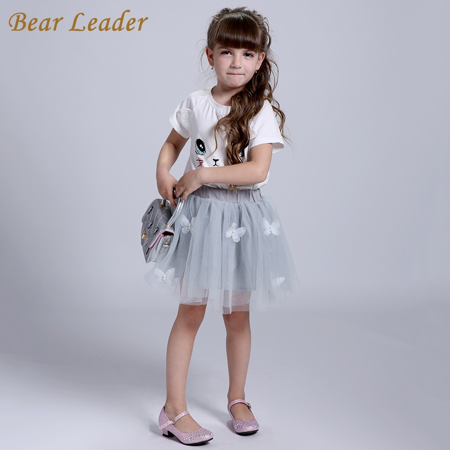 Bear Leader Girls Clothing Sets New Summer Fashion Style Cartoon Kitten Printed T-Shirts+Net Veil Dress 2Pcs Girls Clothes Sets 20