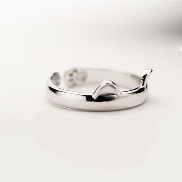 Silver Plated Cat Ear Ring Design Cute Fashion Jewelry Cat Ring For Women and Girl Gifts Adjustable charms Anel GSZR0064