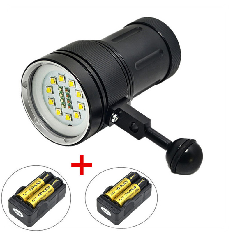 Professional CREE XM-L L2 LED White Red Diving Torch Underwater Video Flashlight lamps + Battery + Charger