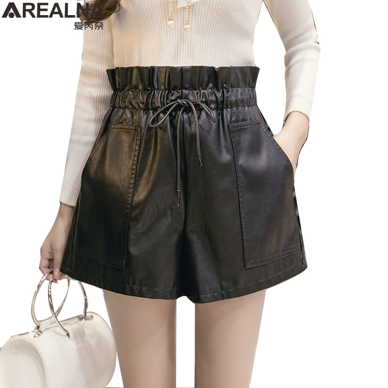 Autumn winter Korean Style Female Sexy Leather   Shorts   High Waist Loose PU Wide Leg   Short   Femme Elastic Waist Belt black Khaki